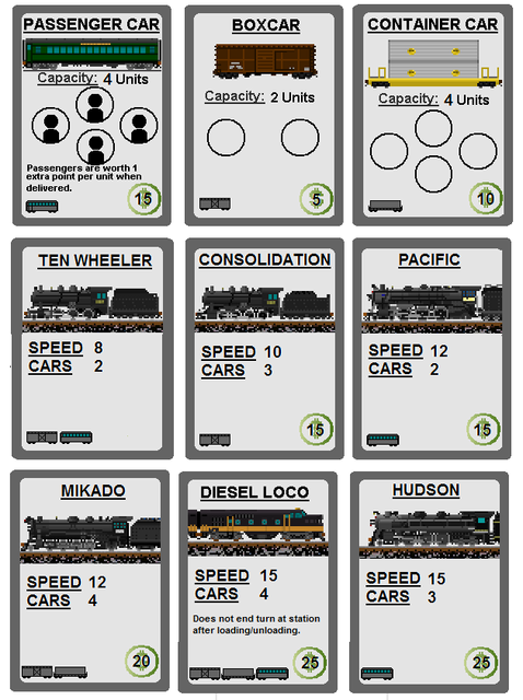 Switchbacks and Sidetracks Equipment Cards