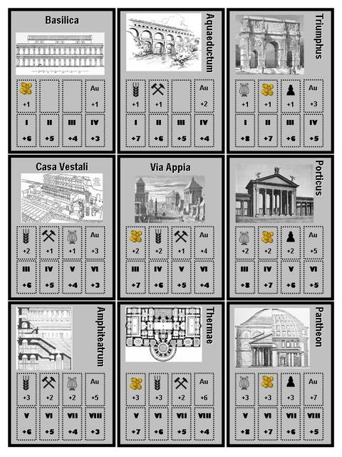 Roman Emperors - Wonders Cards