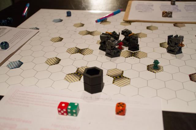 Game testing with 3D printed bot pawns.