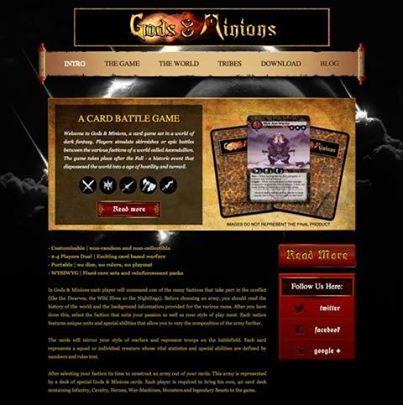 The new Gods & Minions website