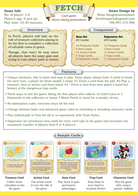 Fetch Sell Sheet V Board Game Designers Forum - Game design forum