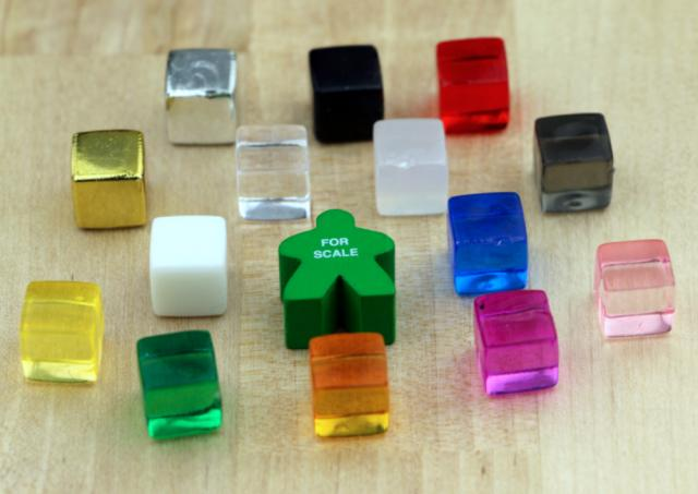 The Game Crafter - Board Game Pieces - 10mm Ice Cubes (14 colors, 17mm Meeple for scale)