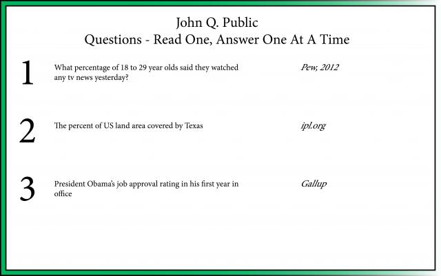 John Q. Public Sample Card Front