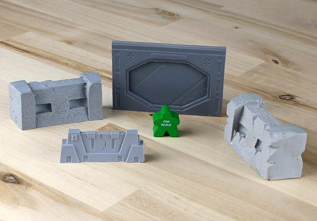 The Game Crafter - Board Game Pieces: Sci-Fi Wall, Closed Sci-Fi Bulkhead, and Damaged Sci-Fi Wall