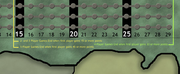 Show of Power Game Board - Close-Up on VP Game-End Conditions