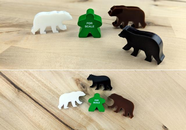 The Game Crafter - Board Game Pieces - Black Bear, Grizzly Bear, and Polar Bear