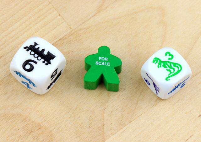 The Game Crafter - Board Game Pieces - D6 Train and Dinosaur Dice