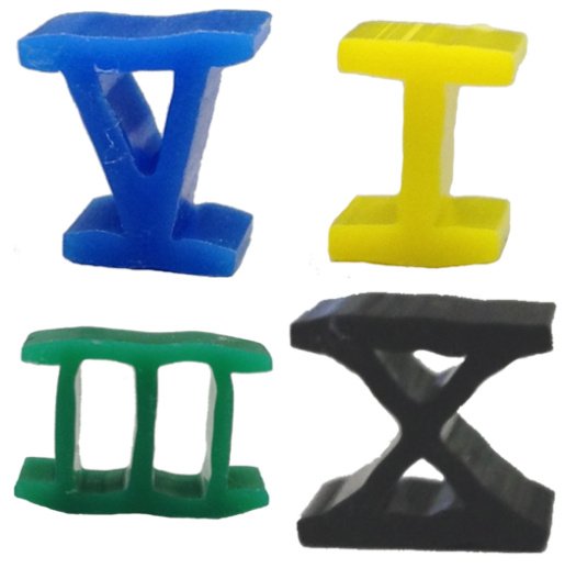 1980's style roman numeral Risk game parts - available at The Game Crafter